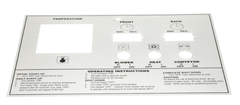 Middleby 39464 LABEL,CONTROL FACE PS570/555